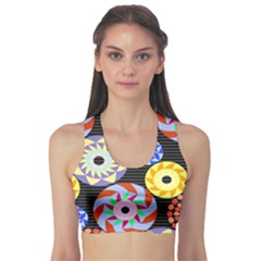 Colorful Retro Circular Pattern Sports Bra