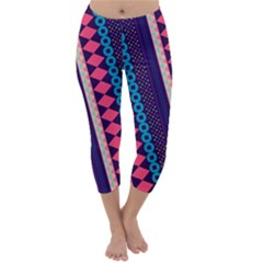 Purple And Pink Retro Geometric Pattern Capri Winter Leggings