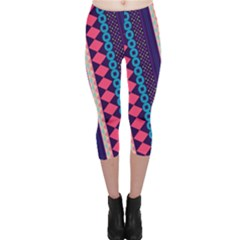 Purple And Pink Retro Geometric Pattern Capri Leggings  by DanaeStudio