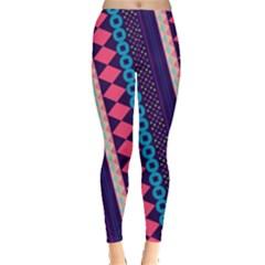Purple And Pink Retro Geometric Pattern Leggings  by DanaeStudio