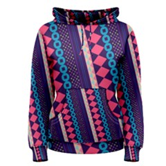 Purple And Pink Retro Geometric Pattern Women s Pullover Hoodie