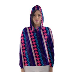Purple And Pink Retro Geometric Pattern Hooded Wind Breaker (women) by DanaeStudio