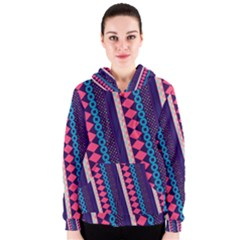 Purple And Pink Retro Geometric Pattern Women s Zipper Hoodie