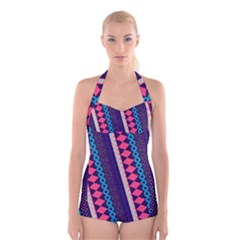 Purple And Pink Retro Geometric Pattern Boyleg Halter Swimsuit  by DanaeStudio
