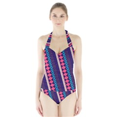 Purple And Pink Retro Geometric Pattern Halter Swimsuit by DanaeStudio