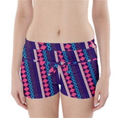 Purple And Pink Retro Geometric Pattern Boyleg Bikini Wrap Bottoms