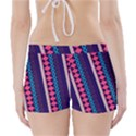 Purple and Pink Retro Geometric Pattern Boyleg Bikini Wrap Bottoms View2