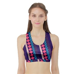 Purple And Pink Retro Geometric Pattern Sports Bra With Border by DanaeStudio