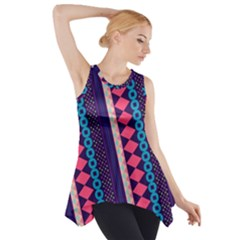 Purple And Pink Retro Geometric Pattern Side Drop Tank Tunic by DanaeStudio