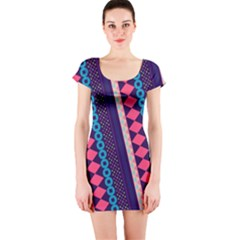 Purple And Pink Retro Geometric Pattern Short Sleeve Bodycon Dress by DanaeStudio
