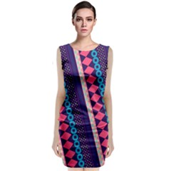 Purple And Pink Retro Geometric Pattern Classic Sleeveless Midi Dress