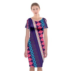 Purple And Pink Retro Geometric Pattern Classic Short Sleeve Midi Dress
