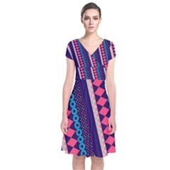 Purple And Pink Retro Geometric Pattern Short Sleeve Front Wrap Dress by DanaeStudio