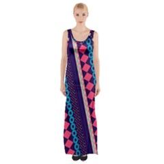 Purple And Pink Retro Geometric Pattern Maxi Thigh Split Dress