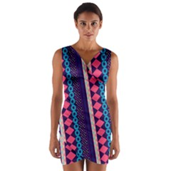 Purple And Pink Retro Geometric Pattern Wrap Front Bodycon Dress