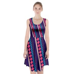 Purple And Pink Retro Geometric Pattern Racerback Midi Dress