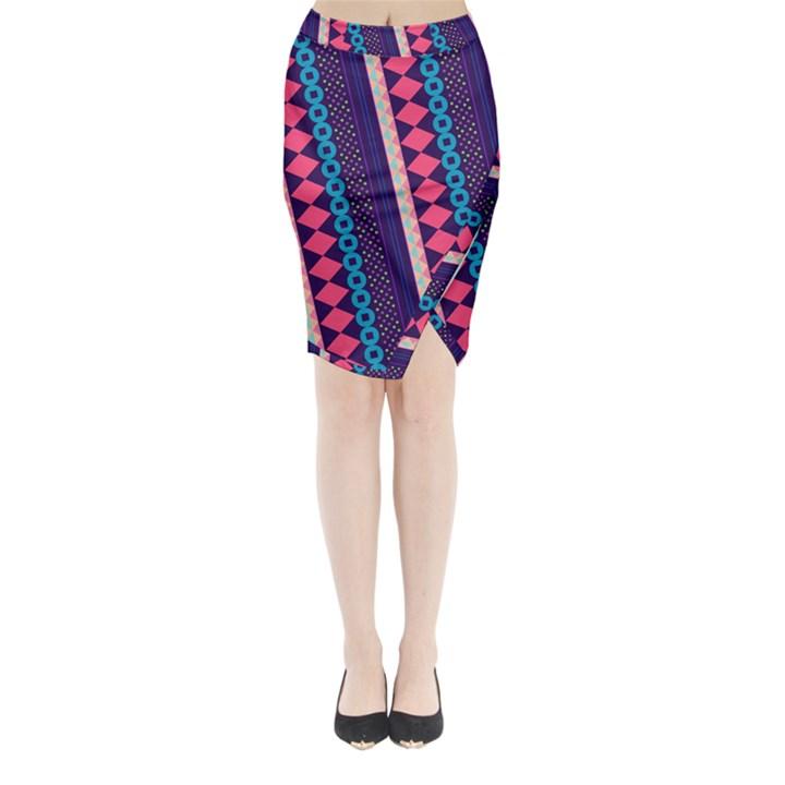 Purple and Pink Retro Geometric Pattern Midi Wrap Pencil Skirt