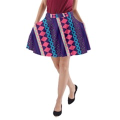 Purple And Pink Retro Geometric Pattern A Line Pocket Skirt