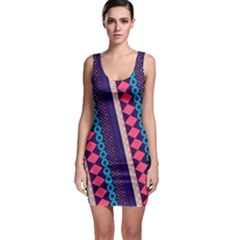 Purple And Pink Retro Geometric Pattern Bodycon Dress by DanaeStudio