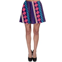 Purple And Pink Retro Geometric Pattern Skater Skirt by DanaeStudio