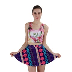 Purple And Pink Retro Geometric Pattern Mini Skirt