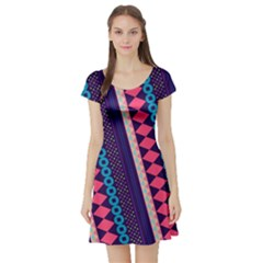 Purple And Pink Retro Geometric Pattern Short Sleeve Skater Dress by DanaeStudio