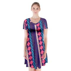 Purple And Pink Retro Geometric Pattern Short Sleeve V Neck Flare Dress