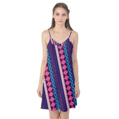 Purple And Pink Retro Geometric Pattern Camis Nightgown
