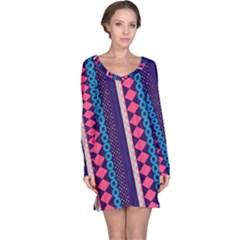 Purple and Pink Retro Geometric Pattern Long Sleeve Nightdress