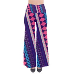 Purple And Pink Retro Geometric Pattern Women s Chic Palazzo Pants  by DanaeStudio