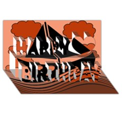 Boat   Red Happy Birthday 3d Greeting Card (8x4)