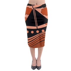 Boat   Red Midi Pencil Skirt by Valentinaart