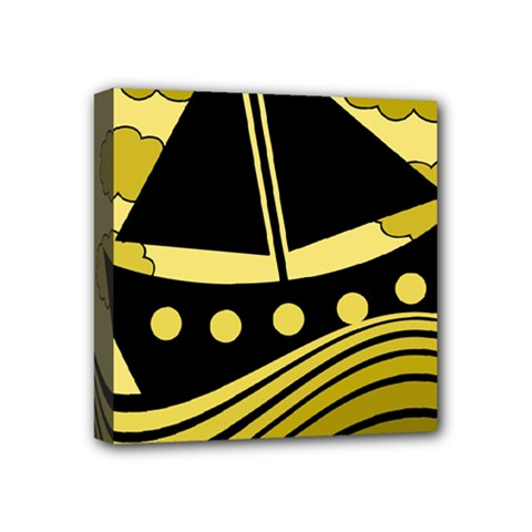 Boat   Yellow Mini Canvas 4  X 4  by Valentinaart
