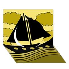 Boat   Yellow Circle 3d Greeting Card (7x5)
