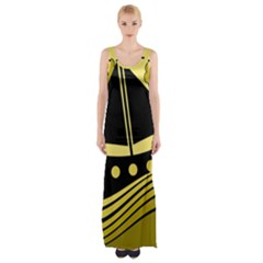 Boat   Yellow Maxi Thigh Split Dress by Valentinaart
