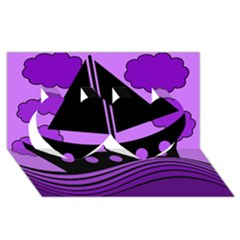 Boat   Purple Twin Hearts 3d Greeting Card (8x4) by Valentinaart