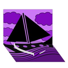 Boat   Purple Heart Bottom 3d Greeting Card (7x5)