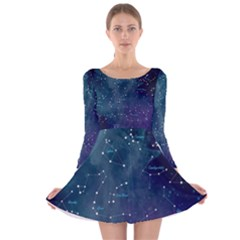 Constellations Long Sleeve Velvet Skater Dress