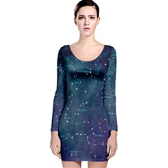 Constellations Long Sleeve Velvet Bodycon Dress