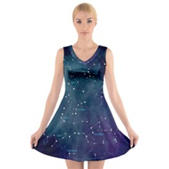 Constellations V Neck Sleeveless Dress