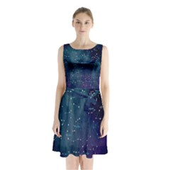 Constellations Sleeveless Chiffon Waist Tie Dress