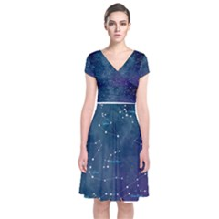 Constellations Short Sleeve Front Wrap Dress