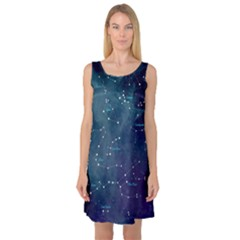 Constellations Sleeveless Satin Nightdress