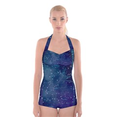 Constellations Boyleg Halter Swimsuit