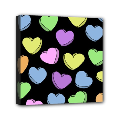 Valentine s Hearts Mini Canvas 6  x 6  by BubbSnugg