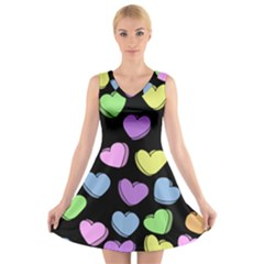 Valentine s Hearts V Neck Sleeveless Skater Dress by BubbSnugg