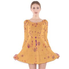 Orange Decor Long Sleeve Velvet Skater Dress by Valentinaart