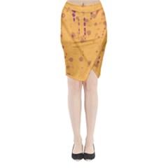 Orange Decor Midi Wrap Pencil Skirt by Valentinaart