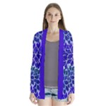 Azurite Blue Flowers Drape Collar Cardigan