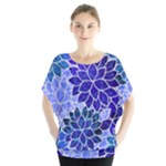 Azurite Blue Flowers Blouse